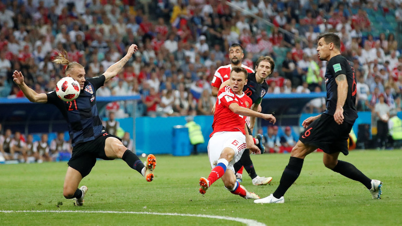 Сборная России открыла счёт в матче четвертьфинала ЧМ-2018 с Хорватией