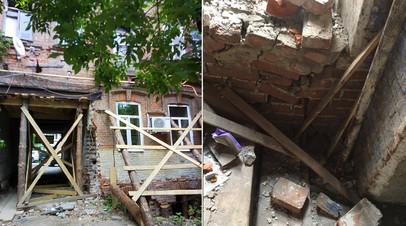 Жители дома — памятника архитектуры в центре Саратова боятся обрушения здания