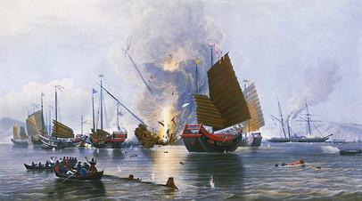 Обстрел китайских джонок © Wikimedia Commons