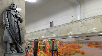 Памятник Герою Советского Союза Матвею Кузьмину на станции метро «Партизанская» в Москве