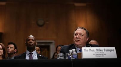 Глава Госдепа США Майк Помпео на слушаниях в сенате