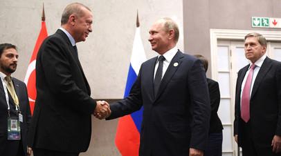 Встреча президента РФ Владимира Путина с  президентом Турции Реджепом Тайипом Эрдоганом