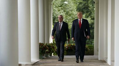 Президент США и глава Еврокомиссии во время визита Жан-Клода Юнкера в Вашингтон