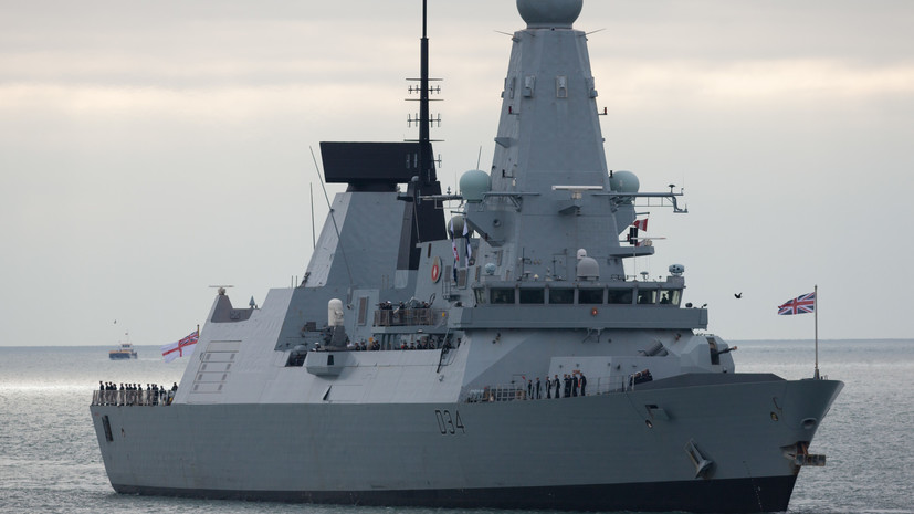 The British destroyer escorted two Russian warships in the