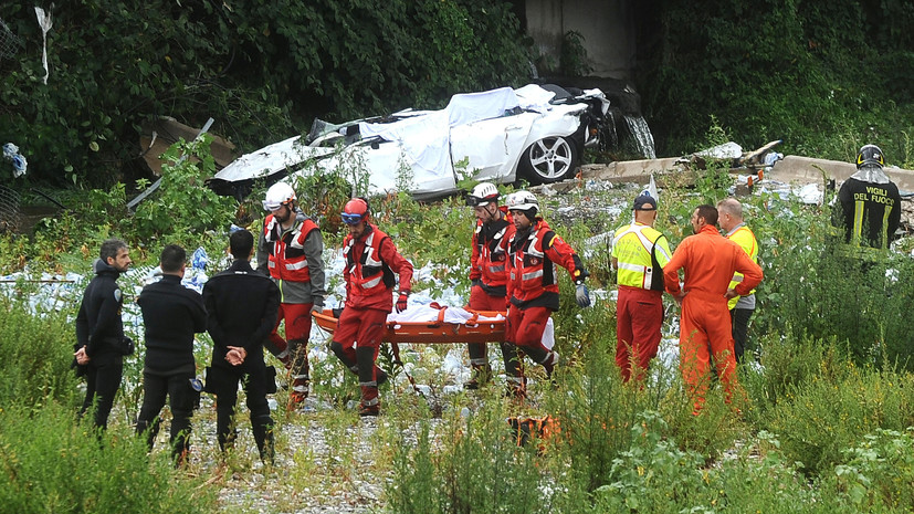 Жертвами обрушения моста в итальянском городе Генуя стали около 30