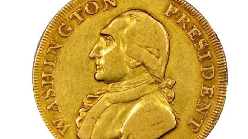 Золотая монета 1792 года выпуска с изображением первого президента США