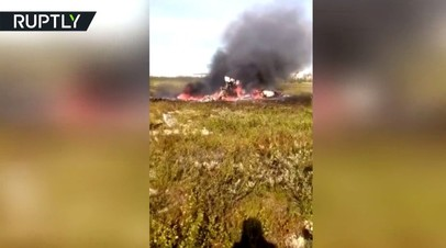 Опубликовано видео с места крушения Ми-8 в Красноярском крае