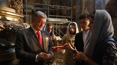 Порошенко помолился за Украину в Софийском соборе