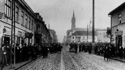 Польский город Лодзь во времена оккупации немецкими войсками в ходе Первой мировой войны