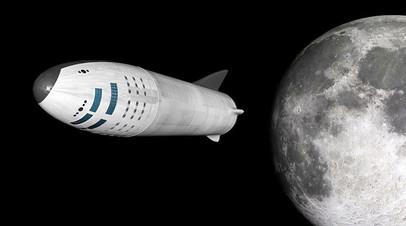 Художественное изображение полёта BFR к Луне