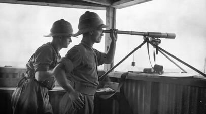 Британские военнослужащие на посту у города Акка. Ноябрь 1936 года