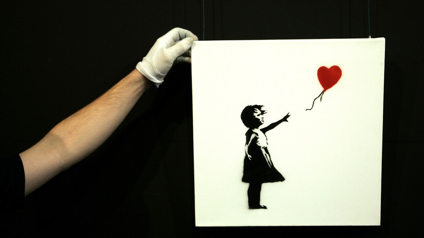 Картина Бэнкси самоуничтожилась после продажи на аукционе в Лондоне