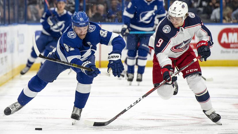 «Тампа» забросила восемь шайб в ворота «Коламбуса» в матче НХЛ, на счету Кучерова — гол и передача