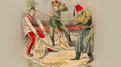 Иллюстрация, опубликованная во французском журнале Le Petit Journal 1908 года, о Боснийском кризисе