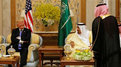 Трампа принимает в Эр-Рияде король Саудовской Аравии Сальман бен Абдель-Азиз Аль Сауд, май 2017 года