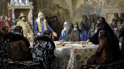 А. Д. Кившенко «Церковный cобор. 1654 год. Начало раскола» (1880)