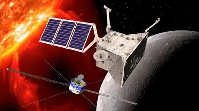Изображение двух аппаратов BepiColombo, работающих на орбитах Меркурия