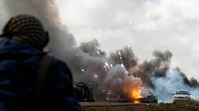 Последствия бомбардировки ВВС НАТО в районе Бенгази 20 марта 2011 года