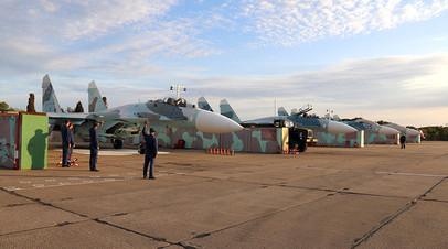 Истребители Су-27 на аэродроме Бельбек