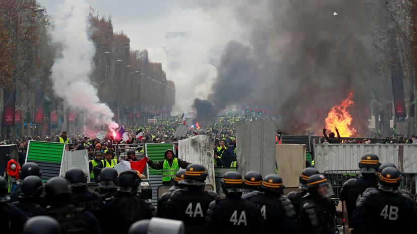 В Париже во время протестов пострадали десять человек