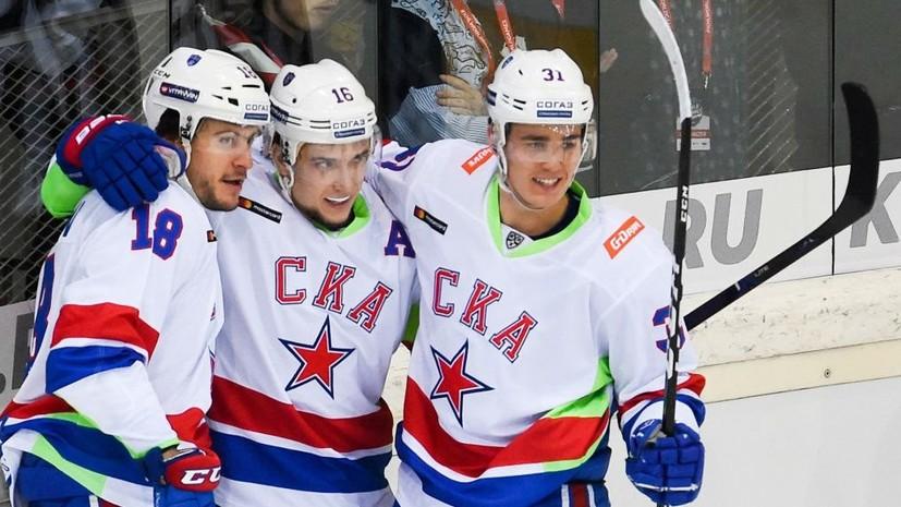 Дубль Плотникова помог СКА победить «Ак Барс» в матче КХЛ