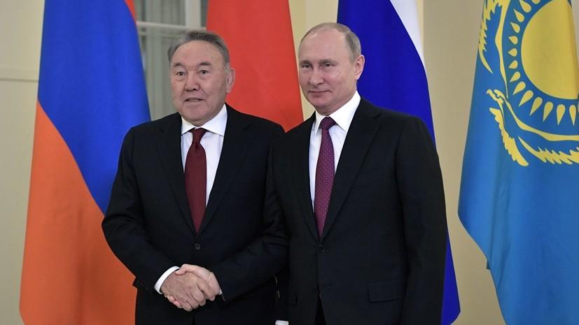 Путин поздравил Назарбаева с Днём независимости Казахстана