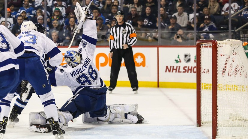 Шайба Кучерова и 37 сейвов Василевского не спасли «Тампу» от поражения в матче НХЛ с «Виннипегом»