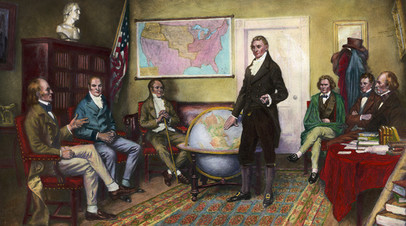 Картина Клайда де Ленда, официальные лица составляют Доктрину Монро