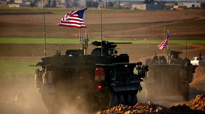 Колонна американской бронетехники в Сирии