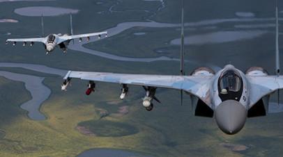 Звено истребителей Су-35 в воздухе