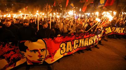 Факельное шествие в честь дня рождения Степана Бандеры в Киеве