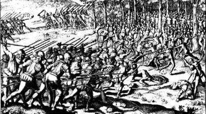 Сражение мапуче (арауканов) с испанцами в XVI веке