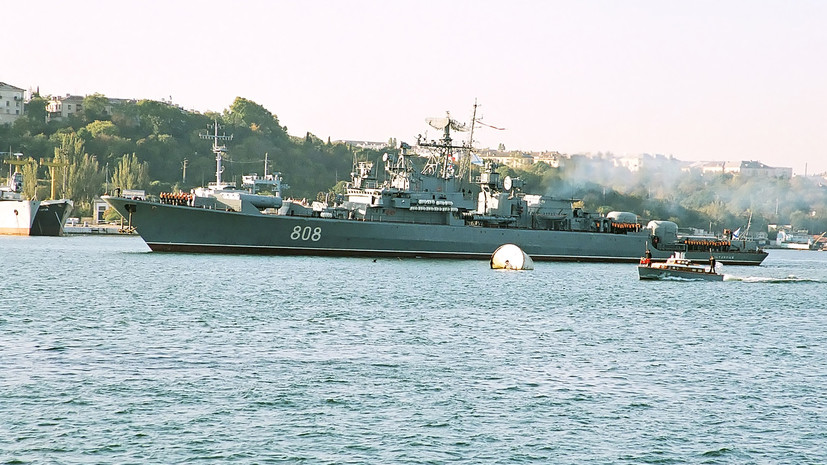 «Мероприятия по контролю»: сторожевой корабль ВМФ России наблюдает за действиями USS Fort McHenry в Чёрном море