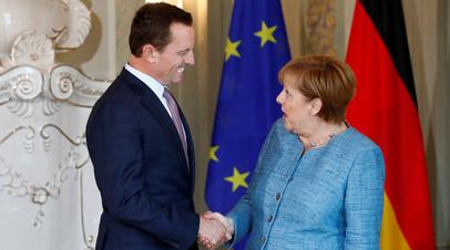 Посол США в Германии Ричард Гренелл и канцлер ФРГ Ангела Меркель