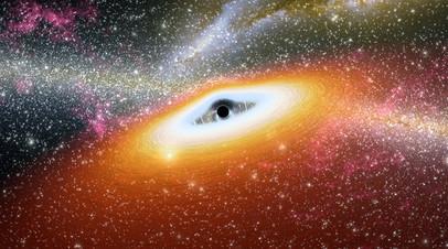 Газовый диск, питающий сверхмассивную чёрную дыру во время излучения.
