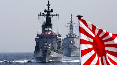 Японские боевые корабли на учениях