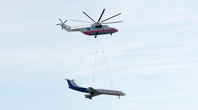 Вертолёт Ми-26 транспортирует самолёт Ту-134