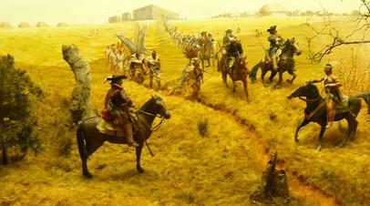 Полковник Джеймс Мур выступает в поход во главе англо-индейского отряда