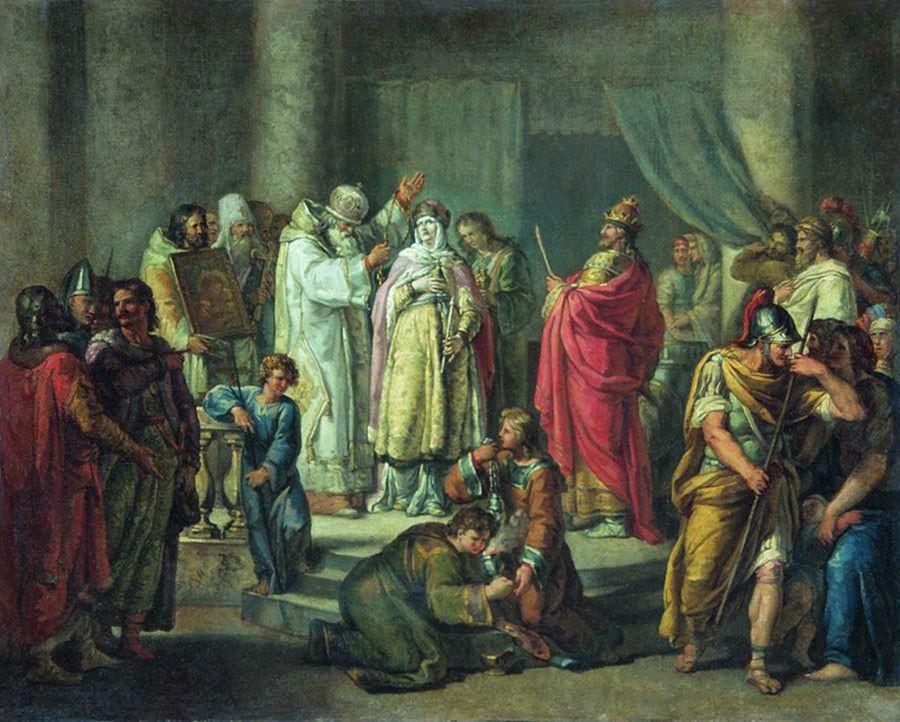 И. Акимов. Крещение княгини Ольги в Константинополе