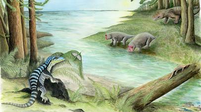 Antarctanax shackletoni (слева). На другом берегу ручья архозавр охотится за дицинодонтами