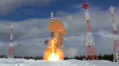 Запуск тяжёлой межконтинентальной баллистической ракеты «Сармат» с космодрома Плесецк в Архангельской области