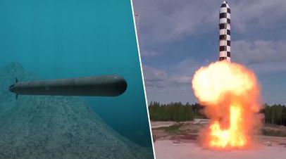 Изображение океанской многоцелевой системы «Посейдон» (слева), испытание баллистической ракеты «Сармат» (справа)