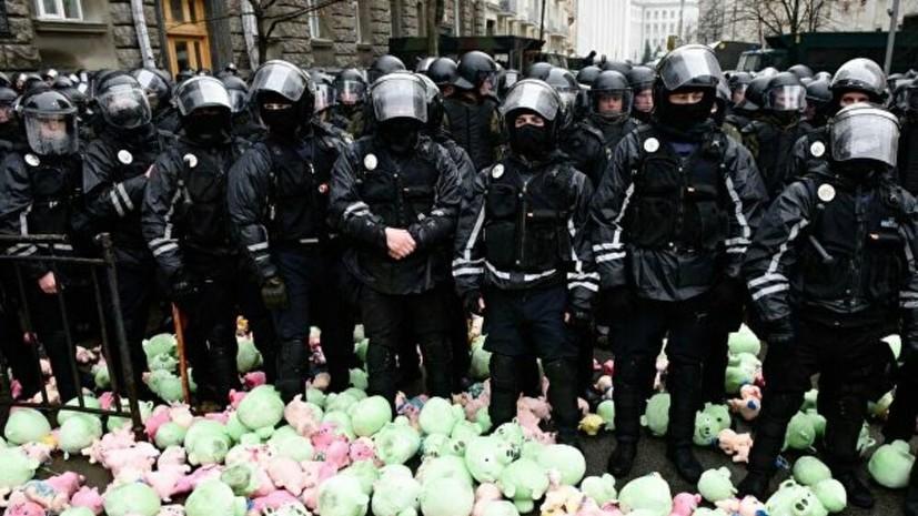 Националисты в Киеве забросали полицейских игрушечными свиньями