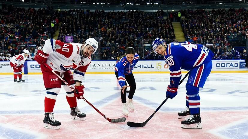 Фигуристка Константинова произвела стартовое вбрасывание в матче плей-офф КХЛ СКА — «Локомотив»