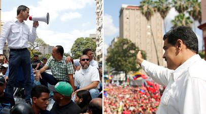 Хуан Гуаидо и Николас Мадуро на митингах в свою поддержку