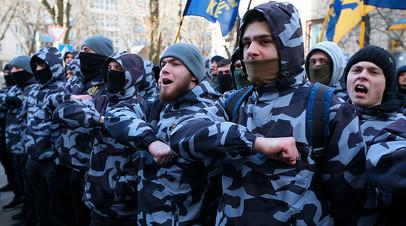 Представители партии «Национальный корпус»  на акции в Киеве