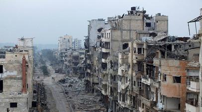 Разрушенные здания сирийского города Хомс