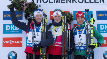 Биатлонисты Йоханнес Бё, Тарьей Бё и Арнд Пайффер