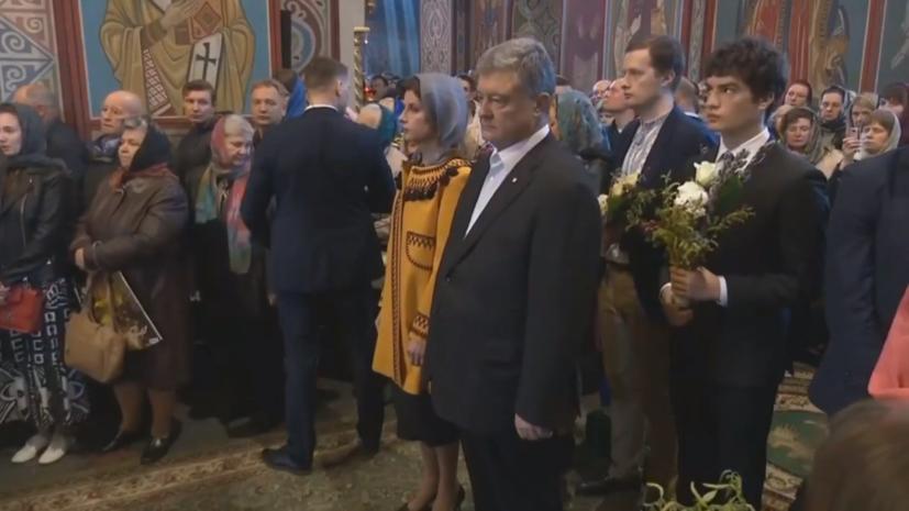 Порошенко перед голосованием посетил литургию в Михайловском соборе