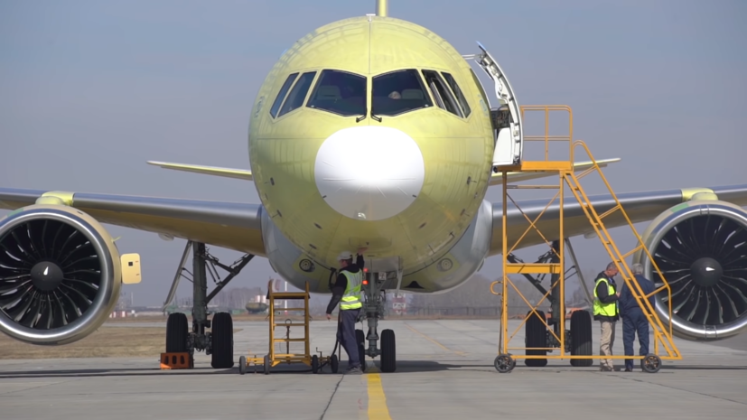 Опубликовано видео полёта опытного самолёта МС-21-300